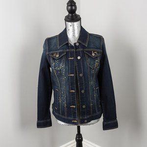NWT S & co jeweled jean jacket - S